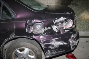 Damaged car, car crash, car accident, personal injury